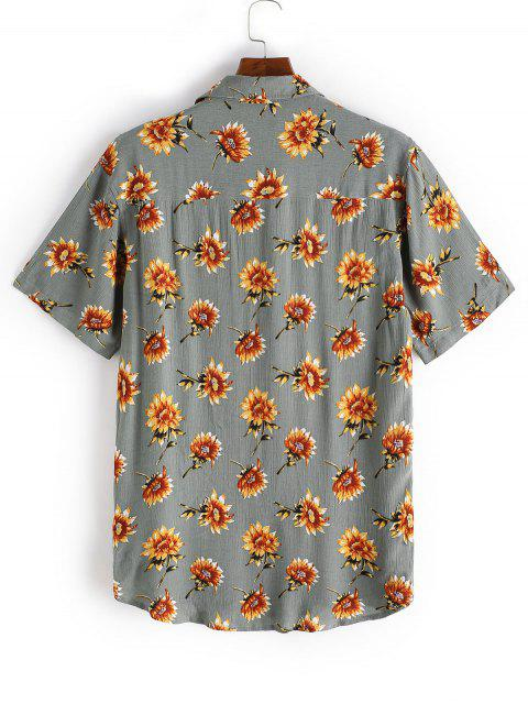 Camisa Casual con Estampado de Flores con Manga Corta con Bolsillos - Verde Camuflaje 2XL Mobile
