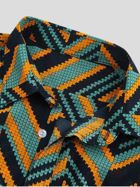 Camisa Corta Estampado Zigzag Manga Corta Botones - Multicolor-A S Mobile
