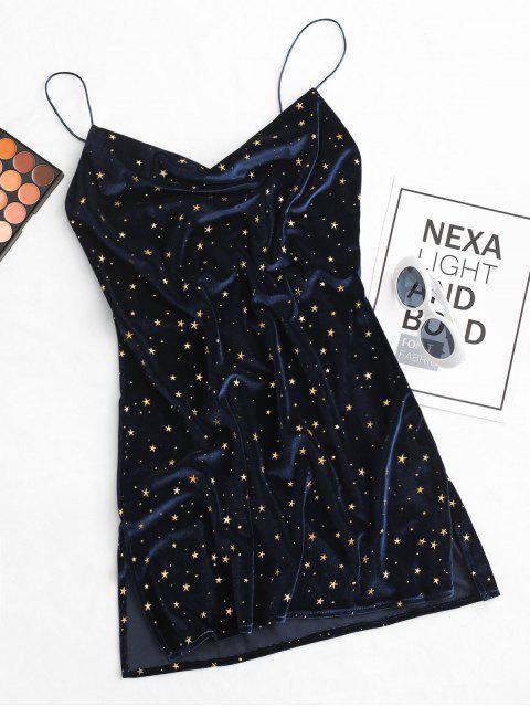 Vestido de Veludo com Capuz Frente Estrelas e Veludo com Corte Lateral - Azul Escuro S Mobile