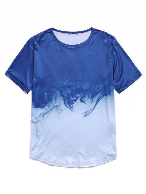 shops Ombre Smoke Print Short Sleeve T-shirt - BLUE L Mobile