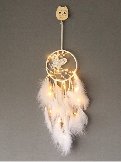 women Faux Pearl Beaded Butterfly Feather Dream Catcher - WHITE WITH LIGHTS Mobile