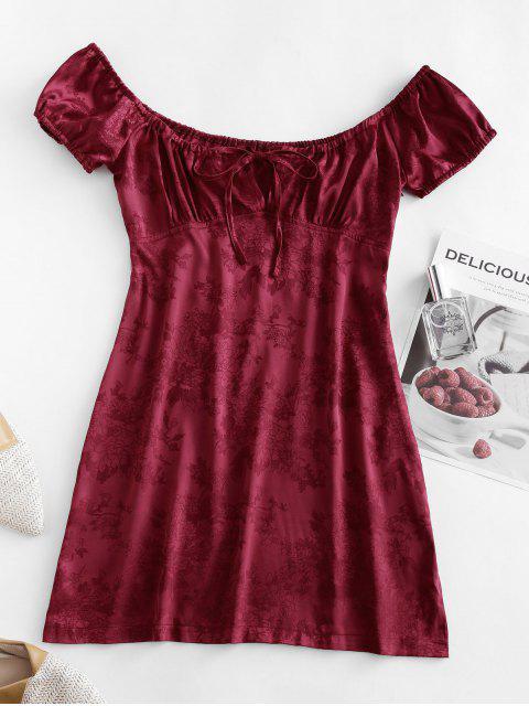 trendy ZAFUL Tie Collar Floral Jacquard Oriental Mini Dress - RED WINE L Mobile