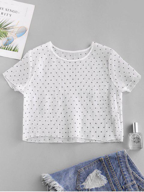 オーガンジードットクロップドTシャツスルーZAFUL参照してください。 - 白 S Mobile