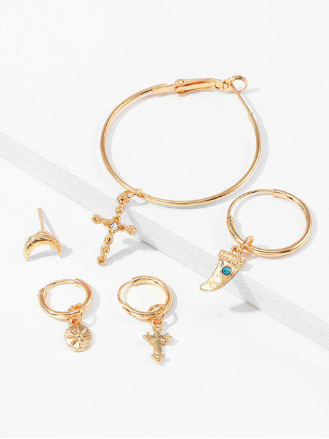 outfits Alloy 5PCS Retro Cross Ox Horn Earrings - GOLD  Mobile