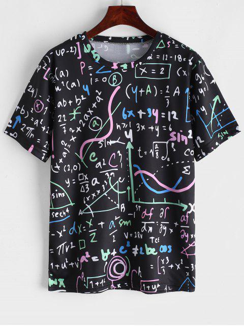 おかしい式プリント半袖チュニックTシャツ - ブラック L Mobile
