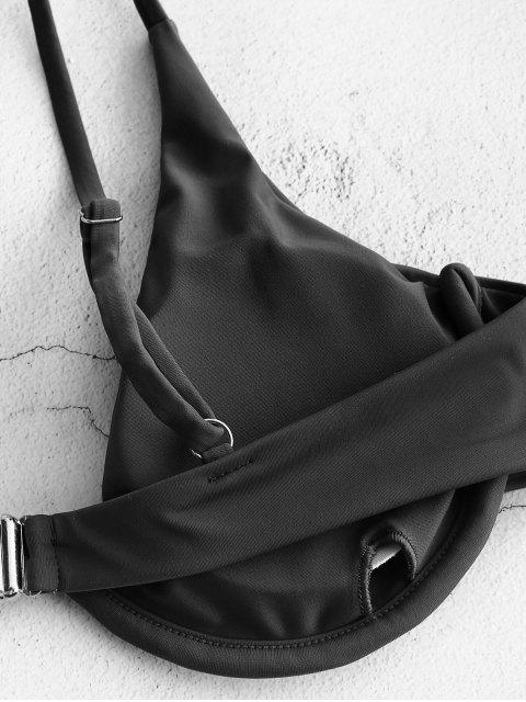 shop ZAFUL Plunge Underwire Push Up Bikini Top - BLACK S Mobile
