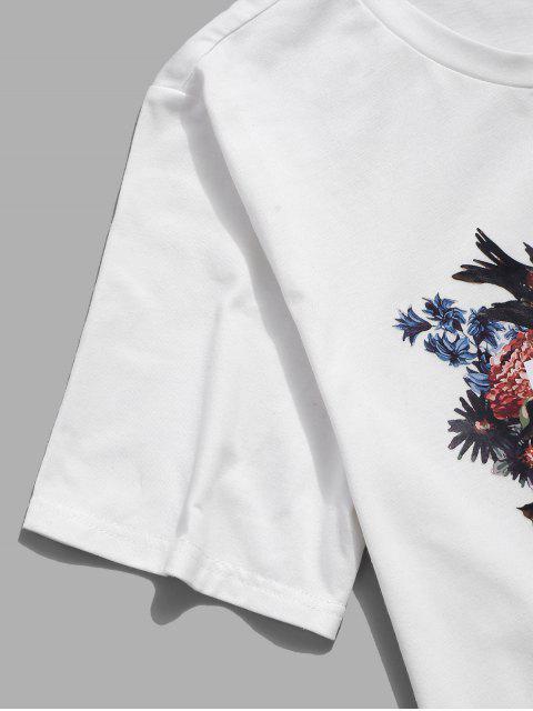 ZAFUL T-shirt de Mangas Curtas Impressão Floral - Leite Branco XL Mobile