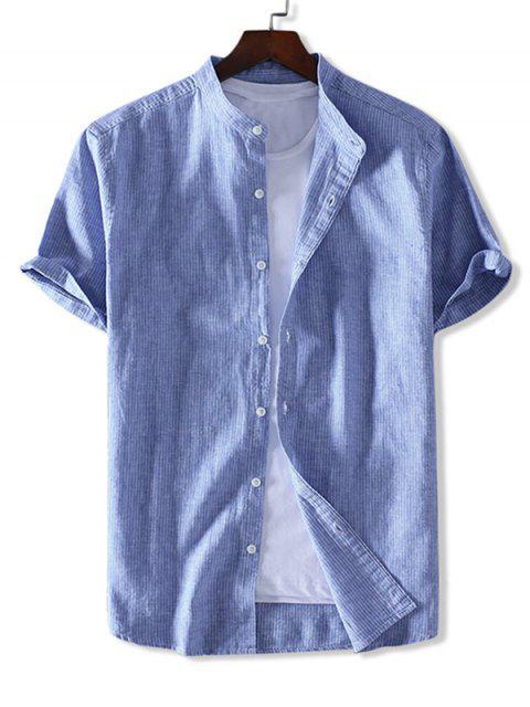 buy ZAFUL Striped Print Button Short Sleeves Shirt - SEA BLUE M Mobile