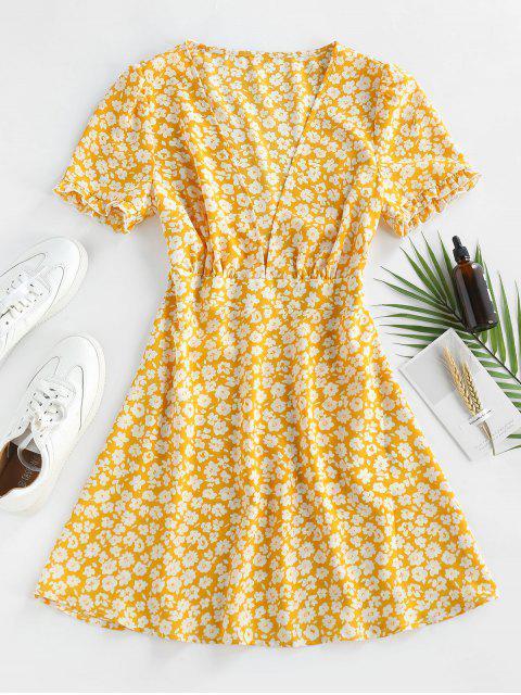 ZAFUL Ditsy Blumen Tiefes Mini Kleid mit Rüschen - Gelb M Mobile