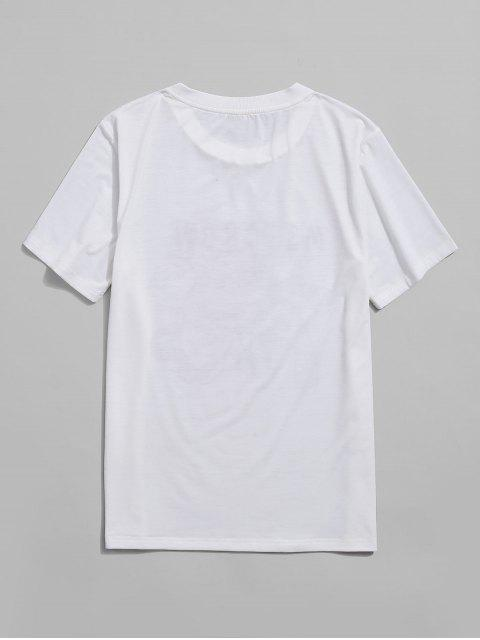 outfits ZAFUL Letter Oriental Dragon Print Short Sleeve T-shirt - WHITE 2XL Mobile