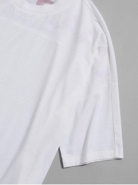 ZAFUL Buchstabedruck Fallschulter Kurzarm T-Shirt - Weiß XL Mobile