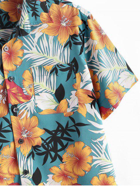 sale ZAFUL Flower Plant Print Pocket Button Vacation Shirt - BABY BLUE L Mobile