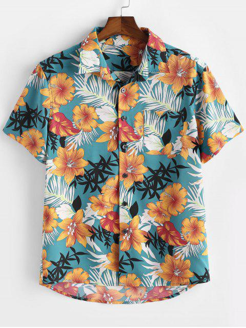 affordable ZAFUL Flower Plant Print Pocket Button Vacation Shirt - BABY BLUE XL Mobile