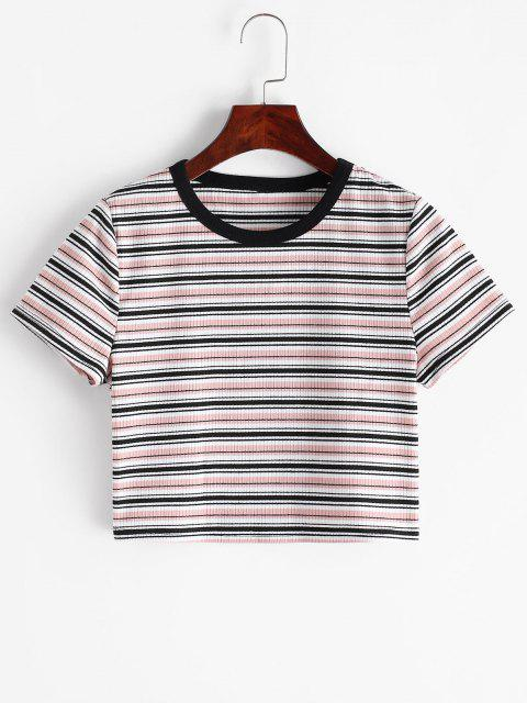 ZAFUL Geripptes Gestreiftes Crop T-Shirt - Multi-A M Mobile