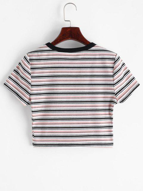 ZAFUL T-shirt Listrado com Nervuras Cortado - Multi-A S Mobile