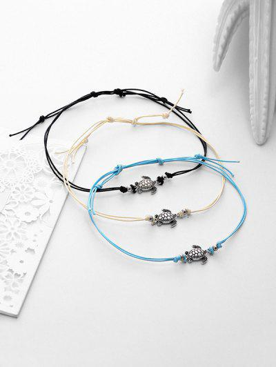 3PCS Alloy Sea Turtle Beach Anklets - Silver
