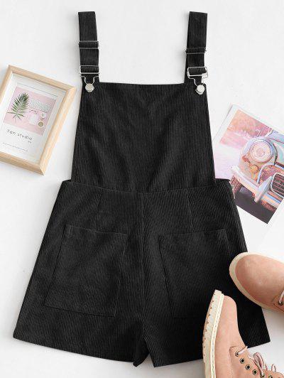 Dual Pockets Tie Dye Corduroy Pinafore Romper - Black S