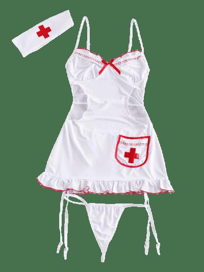 Lace Mesh Garter Cutout Lingerie Nurse Costume Set