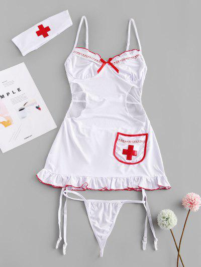 Lace Mesh Garter Cutout Lingerie Nurse Costume Set - White