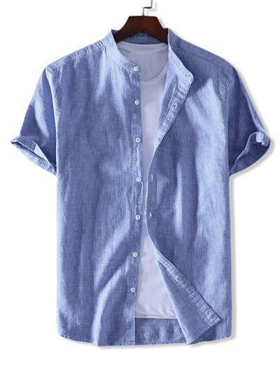 ZAFUL Striped Print Button Short Sleeves Shirt - Sea Blue Xl