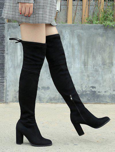 Tie Back Chunky Heel Thigh High Boots - Black Eu 37
