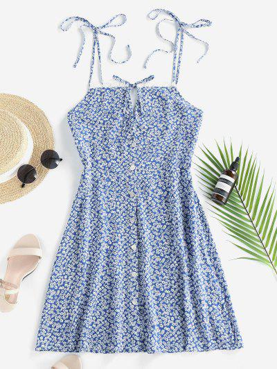 ZAFUL Ditsy Print Tie Button Down Sundress - Blue M