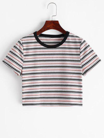 ZAFUL Ribbed Striped Crop T-shirt - Multi-a S