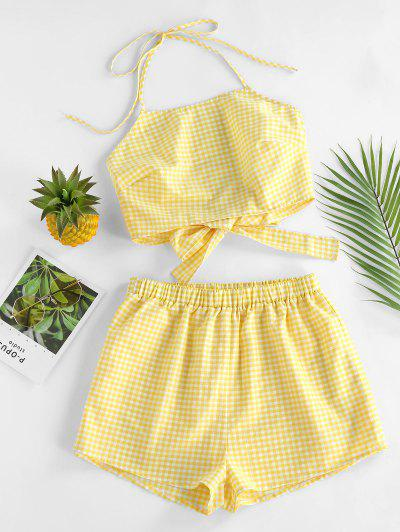 ZAFUL Gingham Halter High Waisted Shorts Set - Yellow S