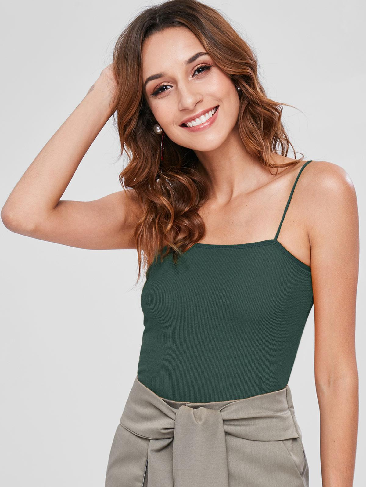 Skinny Ribbed Cropped Cami Top thumbnail