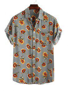 Camisa Casual con Estampado de Flores con Manga Corta con Bolsillos