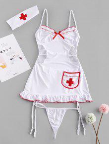 شبكة الرباط الرباط انقطاع ملابس ممرضة حلي - أبيض