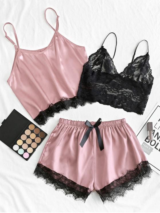 Lace Panel Satin Scurta Pyjama Set - Trandafir XL
