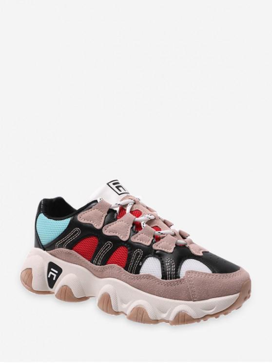 women's Mesh Panel Leather Low Top Dad Sneakers - BLACK EU 40