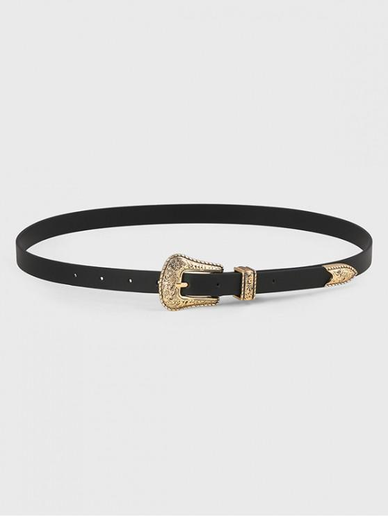 ladies Embossed Pin Buckle PU Leather Waist Belt - BLACK