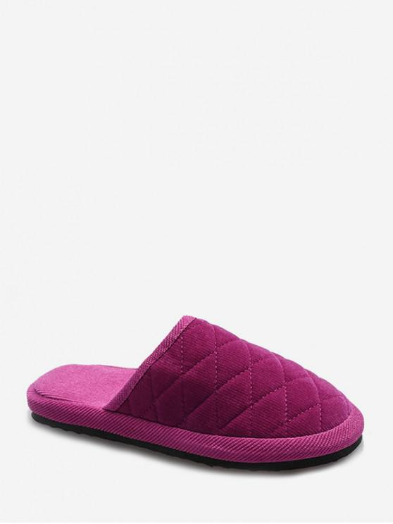 affordable Plain Closed Toe Quilted Indoor Shoes - ROSE RED EU 36