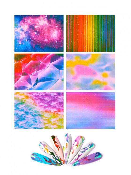 6pcs laser de la magia de la llama etiquetas engomadas del clavo - Multicolor-A