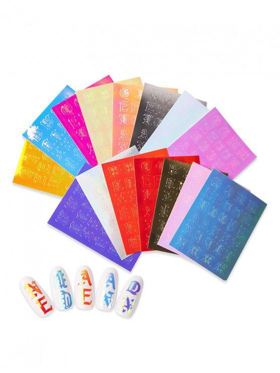 16PCS رسالة نمط ملصقات الأظافر الليزر ماجيك - متعددة-A