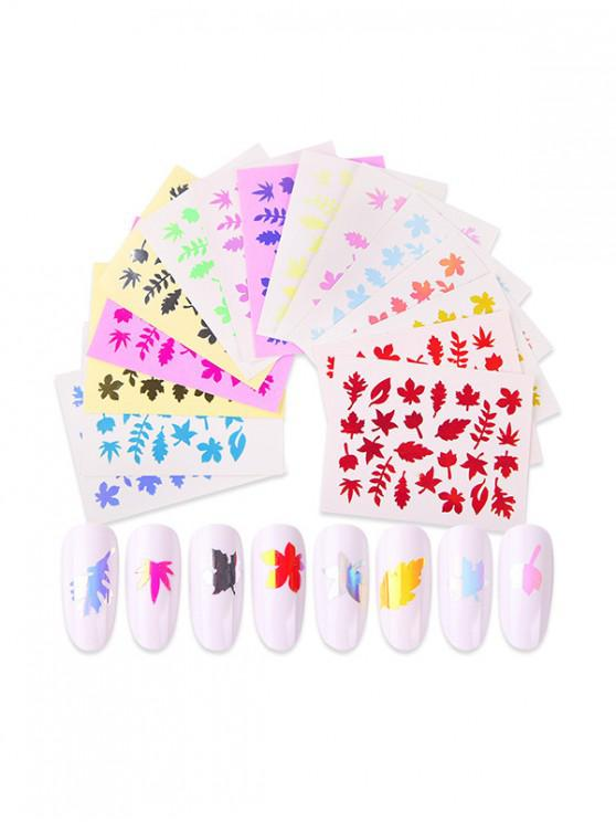 outfit 16Pcs Maple Leaf Pattern Laser Magic Nail Stickers - MULTI-A