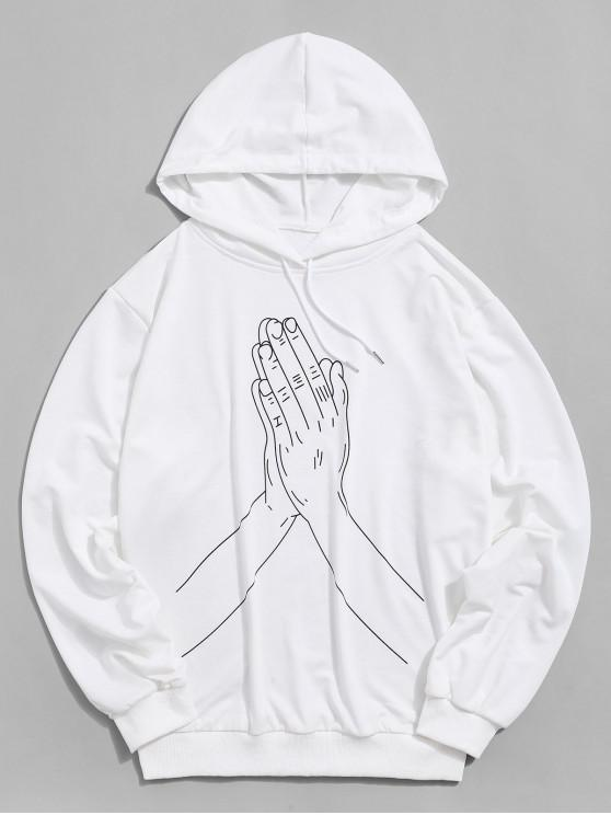 buy Hand Print Pouch Pocket Drawstring Hoodie - WHITE XL