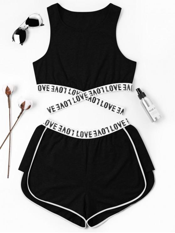 ladies Letter Patched Crossover Shorts Set - BLACK M