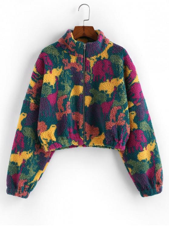 trendy ZAFUL Animal Graphic Drop Shoulder Zip Teddy Jacket - MULTI-A M