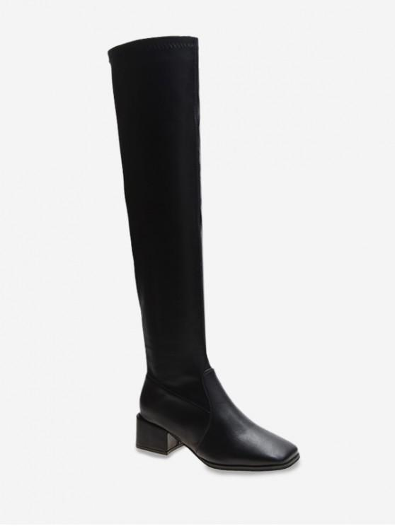 womens Plain Square Toe Leather Thigh High Boots - BLACK EU 35