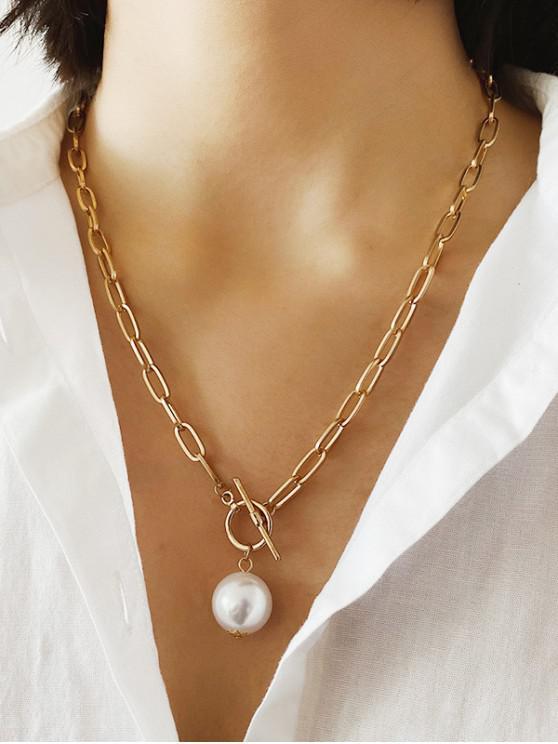 best Faux Pearl Pendant Chain Necklace - GOLD