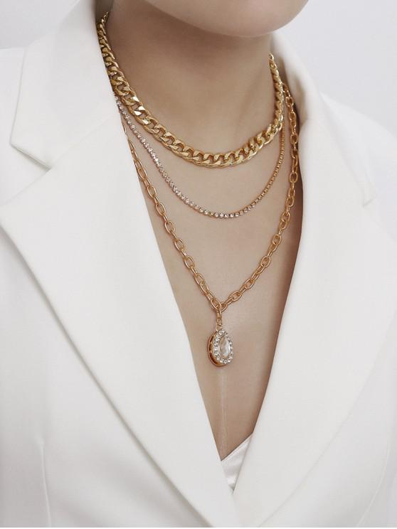 outfits Rhinestone Teardrop Multilayered Chain Necklace - GOLD