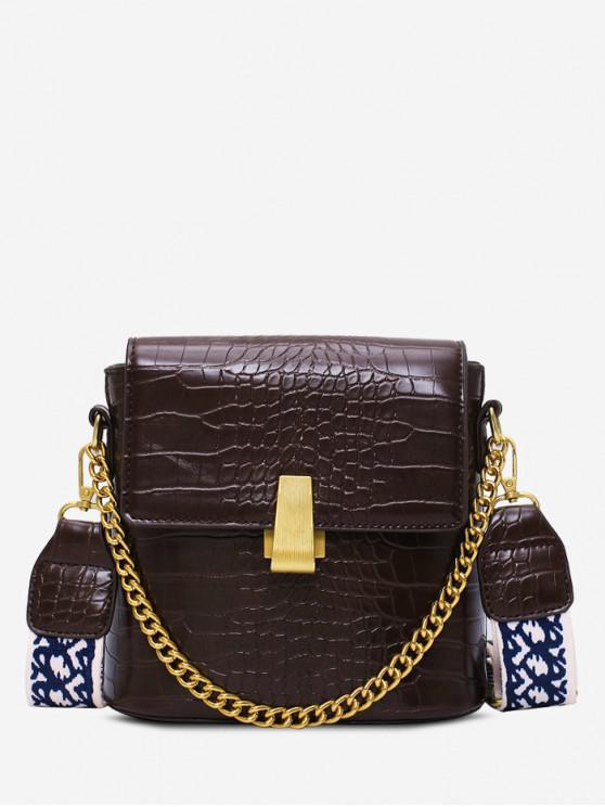 shop Animal Embossed Leather Flap Bucket Bag - COFFEE