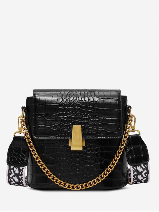 sale Animal Embossed Leather Flap Bucket Bag - BLACK