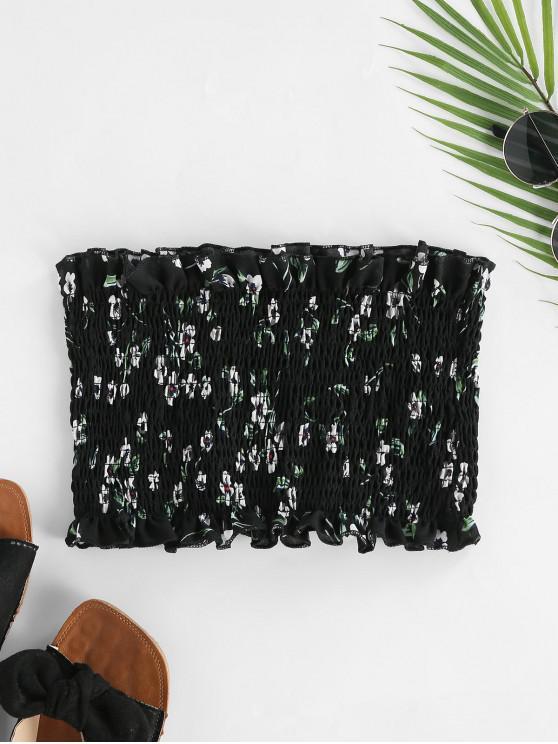 online ZAFUL Floral Smocked Frills Tube Top - BLACK M