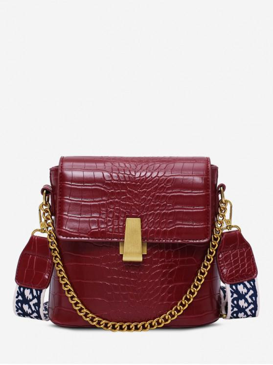 unique Animal Embossed Leather Flap Bucket Bag - RED WINE