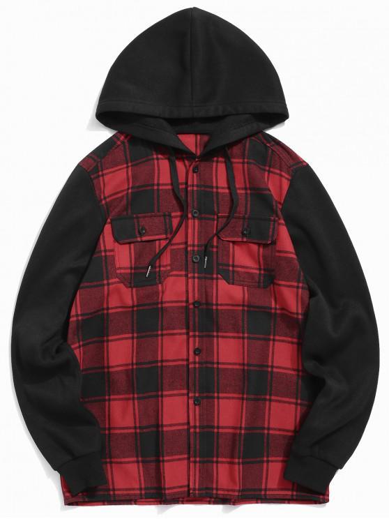 best Plaid Pattern Button Up Hoodie - RED WINE L