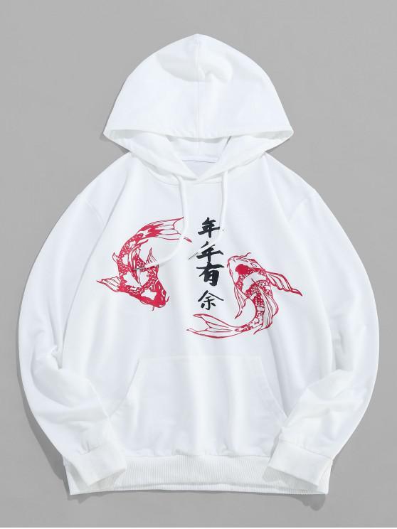 shop ZAFUL Koi Oriental Letter Print Drawstring Hoodie - WHITE XL